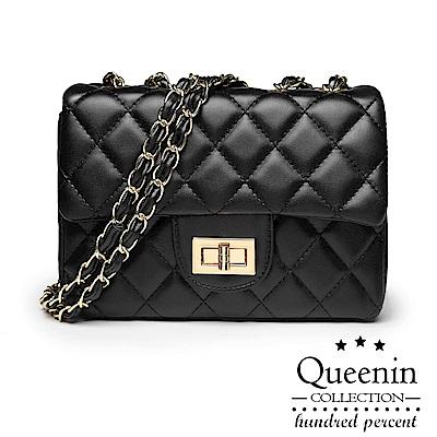 DF Queenin日韓 - 永恆時尚百搭菱格鎖扣鏈條包