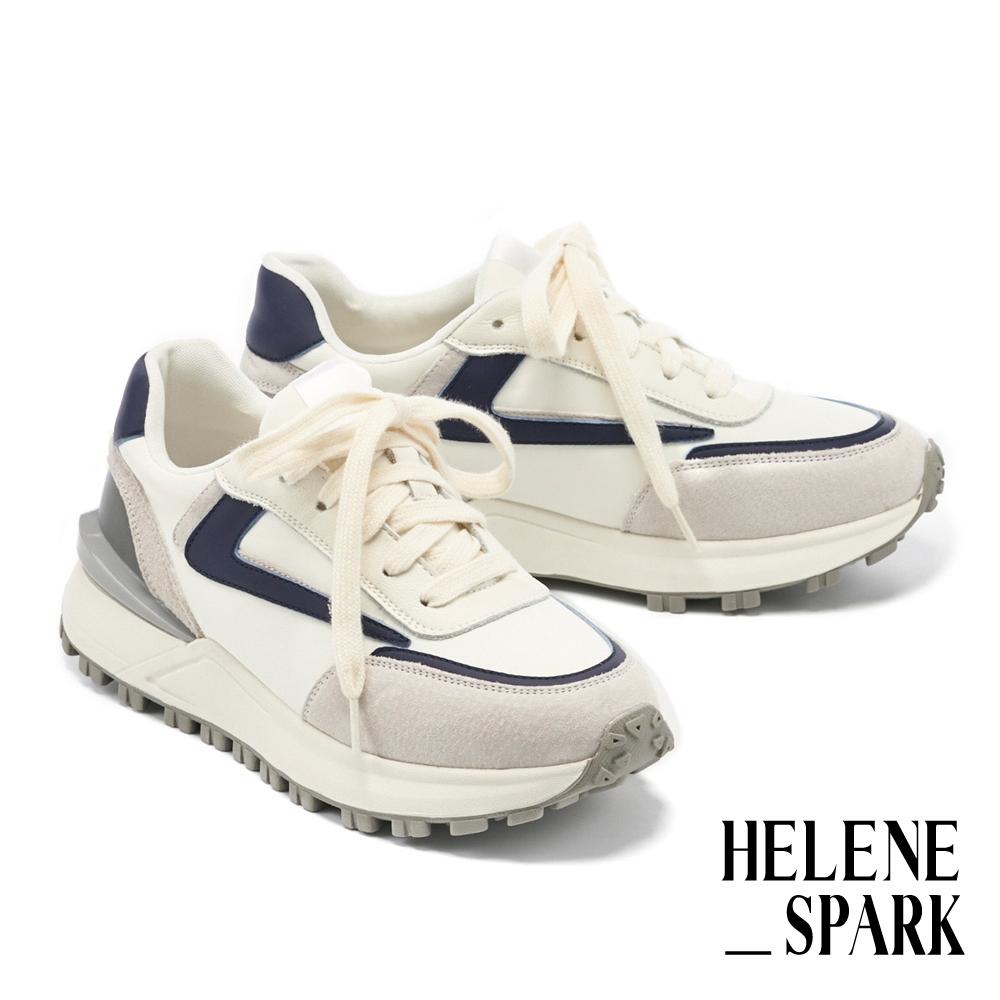 休閒鞋 HELENE SPARK 時髦復古異材質拼接綁帶厚底休閒鞋-藍