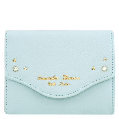 Samantha Thavasa 粉藍色鉚釘皮革證件名片短夾
