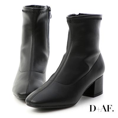 D+AF 百搭焦點.素面車線方頭中跟短靴*黑