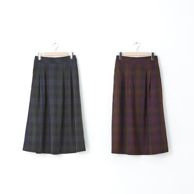 【CUMAR】英國風格紋長裙-裙子(二色/版型適中)