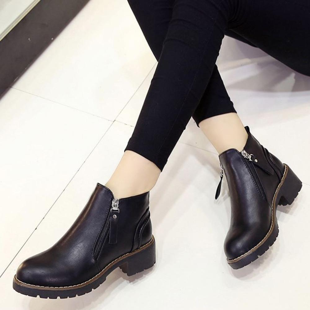 LN 現+預 歐美風雙邊側拉鍊圓頭低跟踝靴-2色
