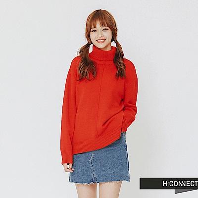H:CONNECT 韓國品牌 女裝-純色質感高領針織上衣-紅