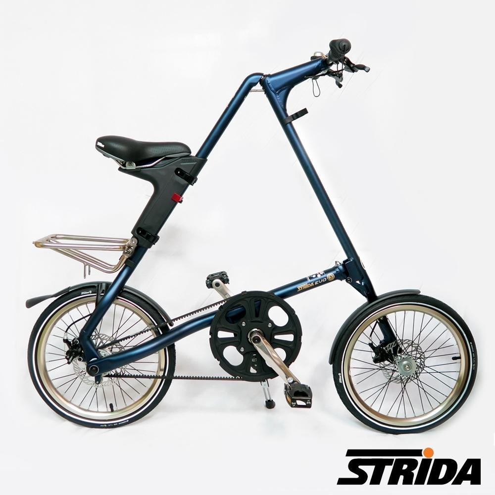 英國STRiDA速立達 EVO版18吋內變3速 碟剎/皮帶傳動/折疊後可推行/三角形單車-霧藍色