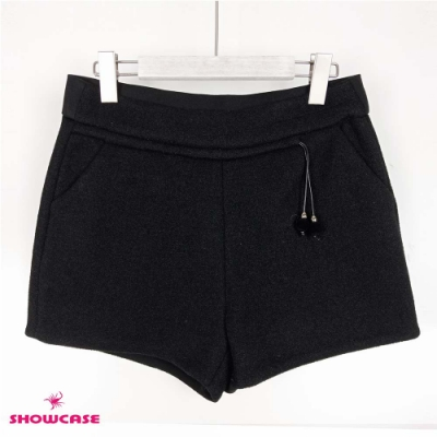 【SHOWCASE】冬款厚磅絨球抽繩腰帶俏麗短褲-黑
