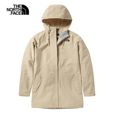 The North Face北面女款米色防水透氣連帽衝鋒衣|4U7SRB6