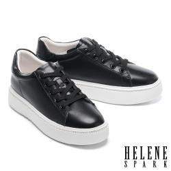 休閒鞋 HELENE SPARK 簡約質感晶鑽綁帶厚底休閒鞋-黑
