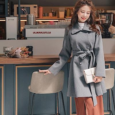 純色傘襬排釦毛呢大衣-OB大尺碼