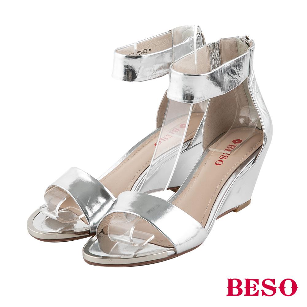 BESO 都會時尚 繞踝楔型涼鞋~銀