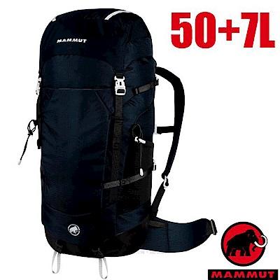 長毛象 新款 Lithium Crest 50+7L 輕量專業透氣登山健行背包-黑