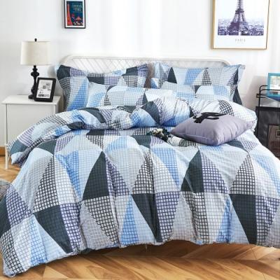 Grace Life 加大 親膚棉感活性印染枕套床包三件組-幾何旋律