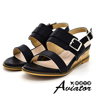 Aviator韓國空運-優雅女神雙層皮革釦帶輕量楔型厚底涼鞋-黑