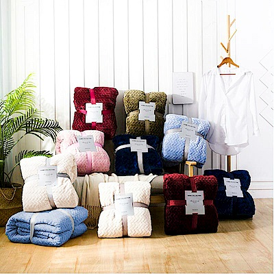 A-one (二入)北歐麥穗羊羔絨押花暖暖毯_ 2 件加贈保潔枕墊 2 個