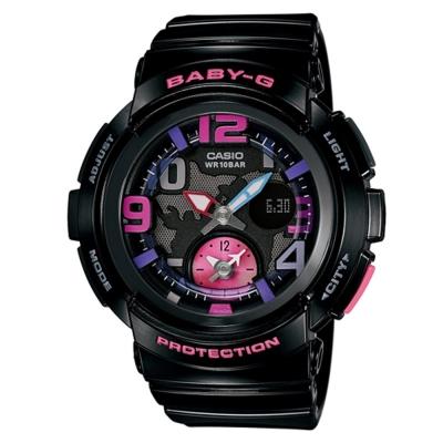 BABY-G 海灘女孩愛旅行系列地圖概念休閒錶(BGA-190-1B)-黑x紫紅時刻/44mm
