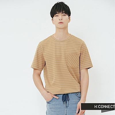 H:CONNECT 韓國品牌 男裝-單口袋條紋上衣-棕