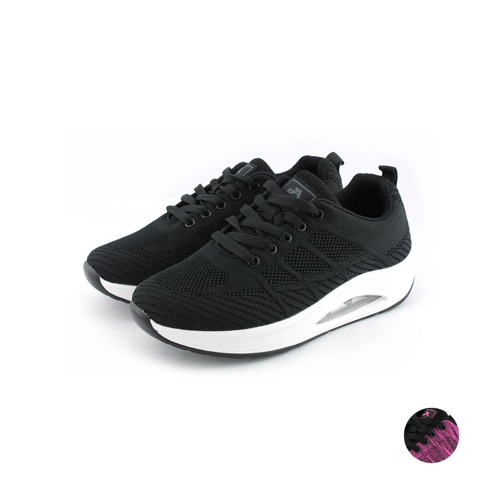 ARRIBA艾樂跑女鞋-飛織休閒鞋-黑/桃紅(FA545)