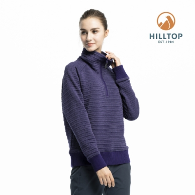 【hilltop山頂鳥】女款保暖半開襟刷毛上衣H51FJ3紫黑
