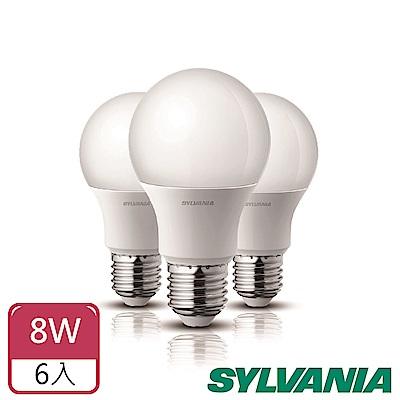 喜萬年SYLVANIA  8W LED超亮廣角燈泡- 6入組