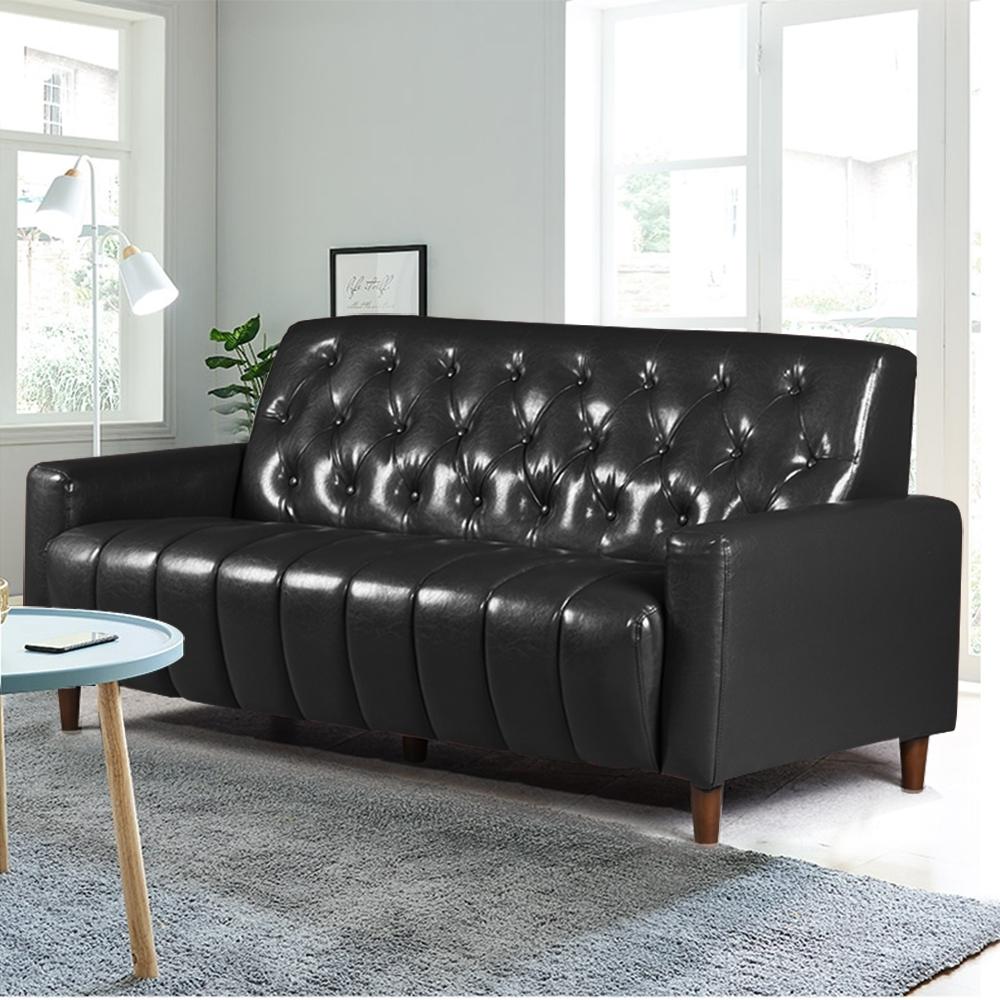 Ally愛麗-美式拿鐵-百年經典復古三人沙發175cm-三人座皮沙發-黑色-