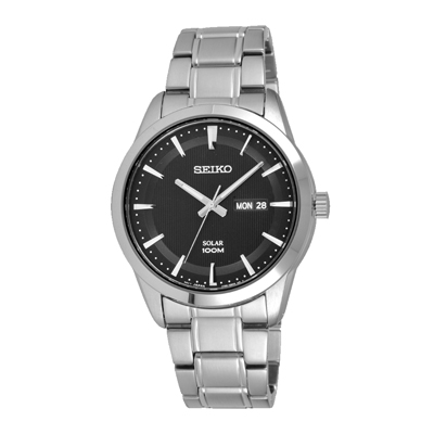 SEIKO 時尚俐落質感太陽能腕錶-銀X黑(SNE363P1)-43mm