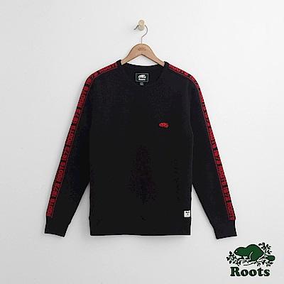 Roots 男裝-ROOTS 雙臂字標圓領上衣-黑