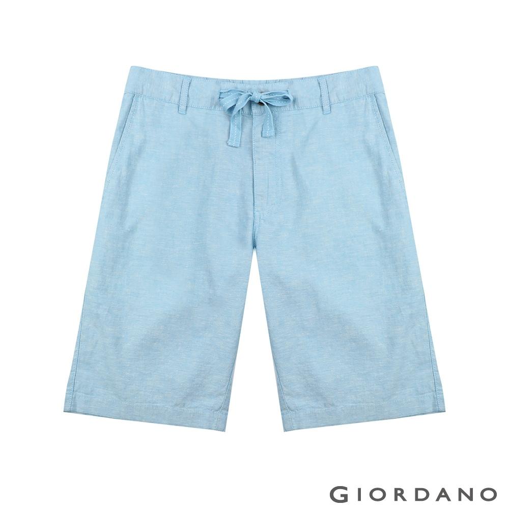 GIORDANO 男裝抽繩腰頭棉麻休閒短褲-70 淺藍