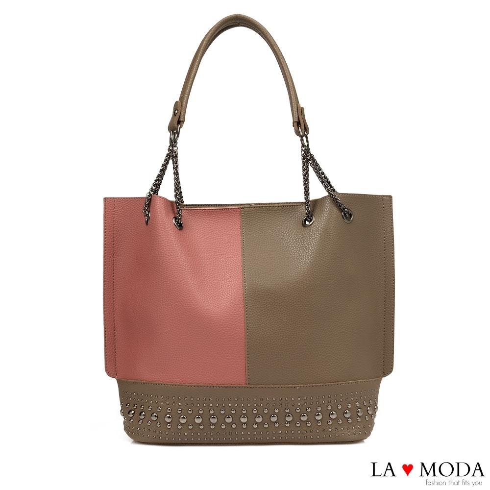 La Moda 質感拼接大容量鉚釘裝飾肩背托特包(咖啡/深粉)