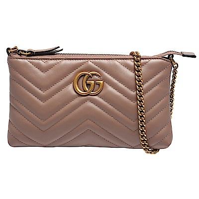 GUCCI Marmont mini絎縫紋牛皮金屬雙G LOGO肩/斜背包(迷你-裸色)