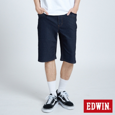 EDWIN JERSEYS 迦績 PK EJ3涼感低腰寬鬆 牛仔短褲-男-原藍色