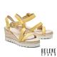涼鞋 HELENE SPARK 夏日清新繫帶異材質撞色楔型高跟涼鞋-黃 product thumbnail 1