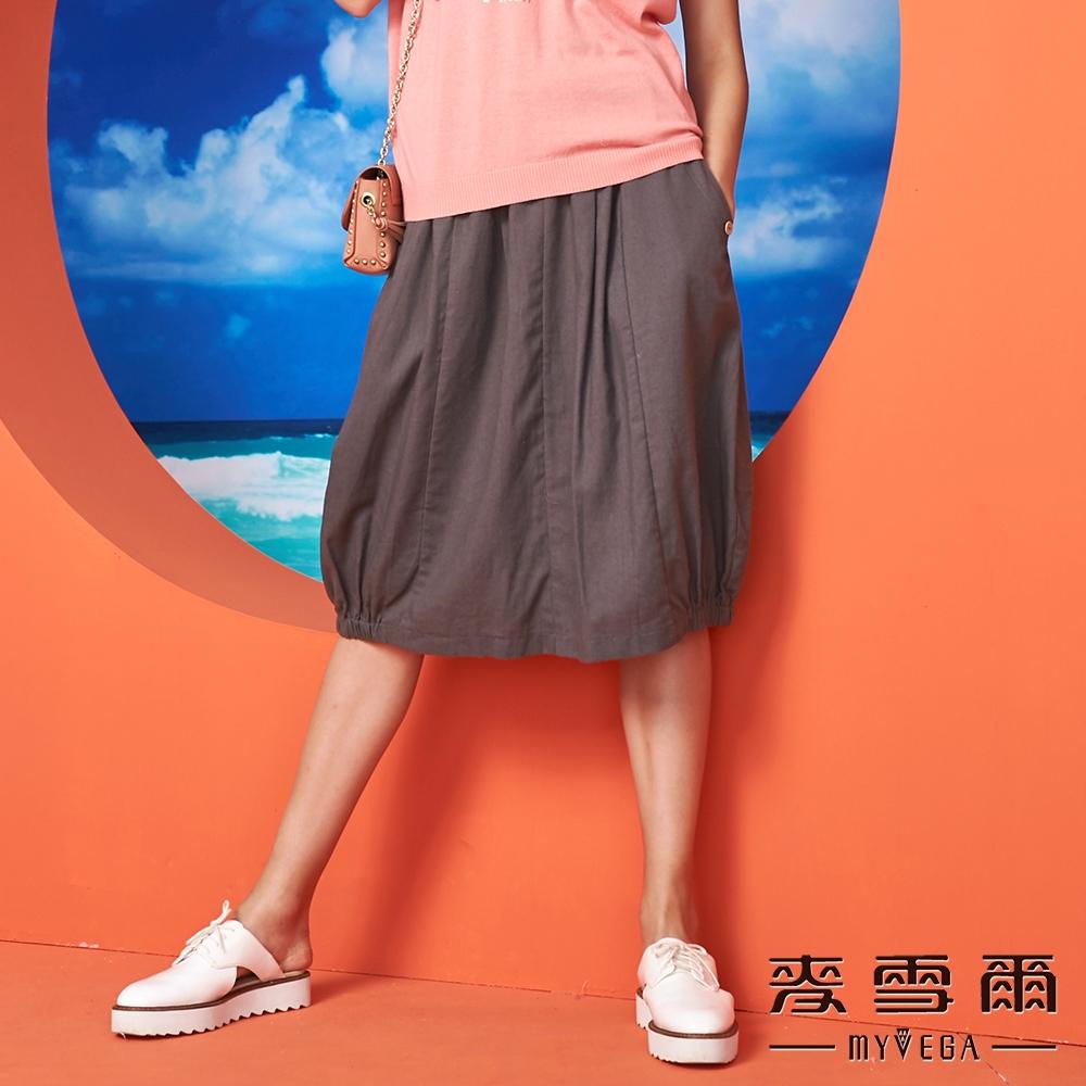 【麥雪爾】棉麻素色釦飾口袋花苞裙