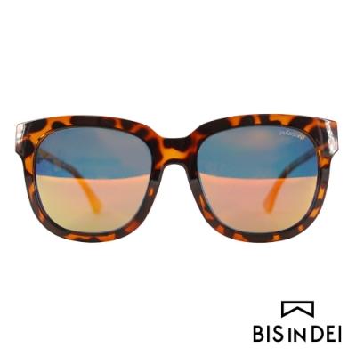 BIS IN DEI 微高調復古方框太陽眼鏡-豹紋