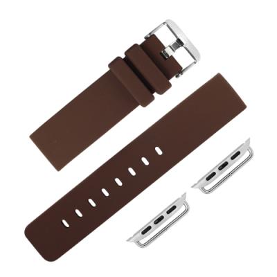 Apple Watch 蘋果手錶替用錶帶 不鏽鋼扣頭 矽膠錶帶-咖啡