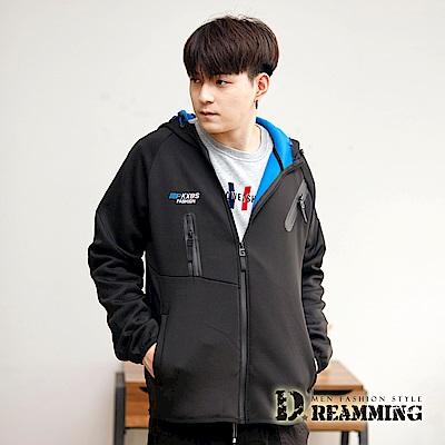 Dreamming 極簡風格複合彈力保暖刷毛連帽外套-共二色