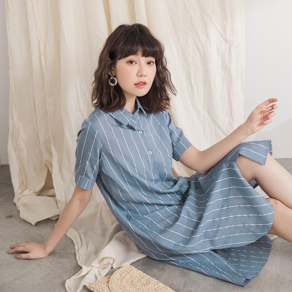 配色直條紋長版襯衫/洋裝/外套-OB大尺碼