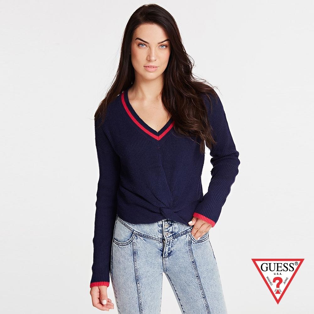 GUESS-女裝-前扭結V領針織長袖上衣-藍 原價1990