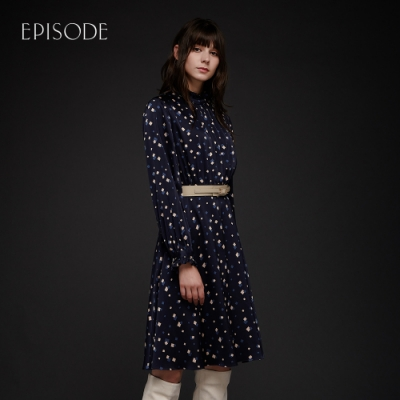 EPISODE - 藍色清新幾何印花小立領修身荷葉邊長袖洋裝