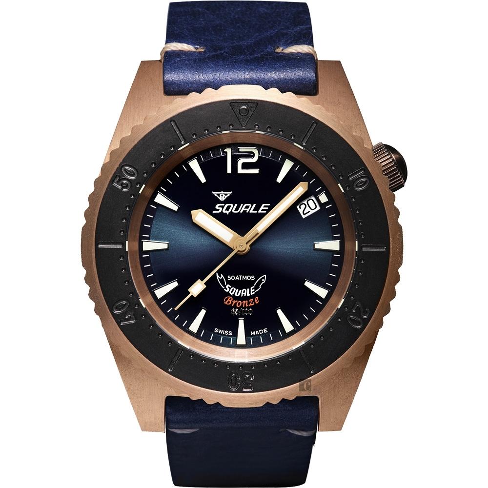 SQUALE 鯊魚錶 青銅限量款機械錶-藍/42mm