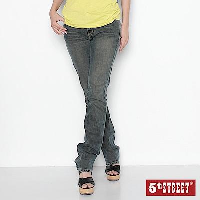 5th STREET 基本美式小5直筒牛仔褲-女-拔淺藍