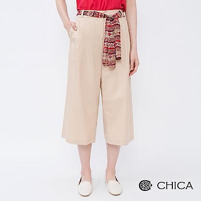 CHICA 知性優雅民俗風綁帶打褶寬褲(2色)