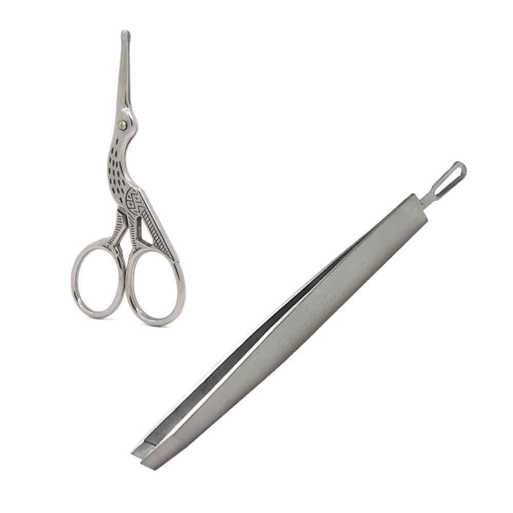 【嚴選不鏽鋼修容組】圓頭 鼻毛剪 修容剪+二合一 斜口眉毛夾 粉刺清潔棒
