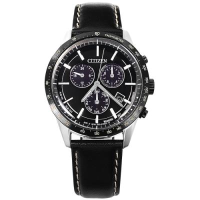 CITIZEN 光動能 萬年曆 三眼計時 日期 日本製造 防水 小牛皮手錶-黑x銀框/40mm