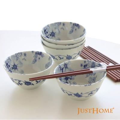 Just Home日本製羽之菊陶瓷碗筷超值10件餐具組(飯碗+原木筷)