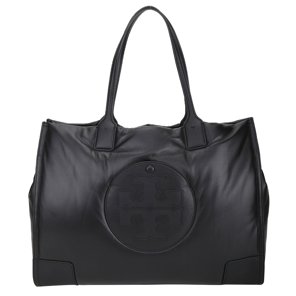TORY BURCH Ella 品牌徽標厚磅空氣感真皮托特包(黑色)