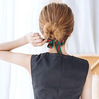 梨花HaNA 韓國條紋紅綠經典緞帶盤髮棒