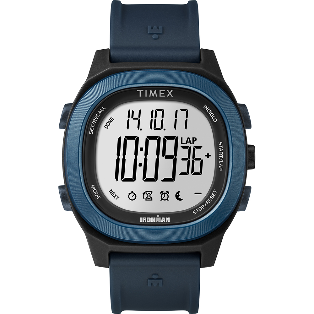 TIMEX 天美時 鐵人系列 多功能電子錶-藍/40mm