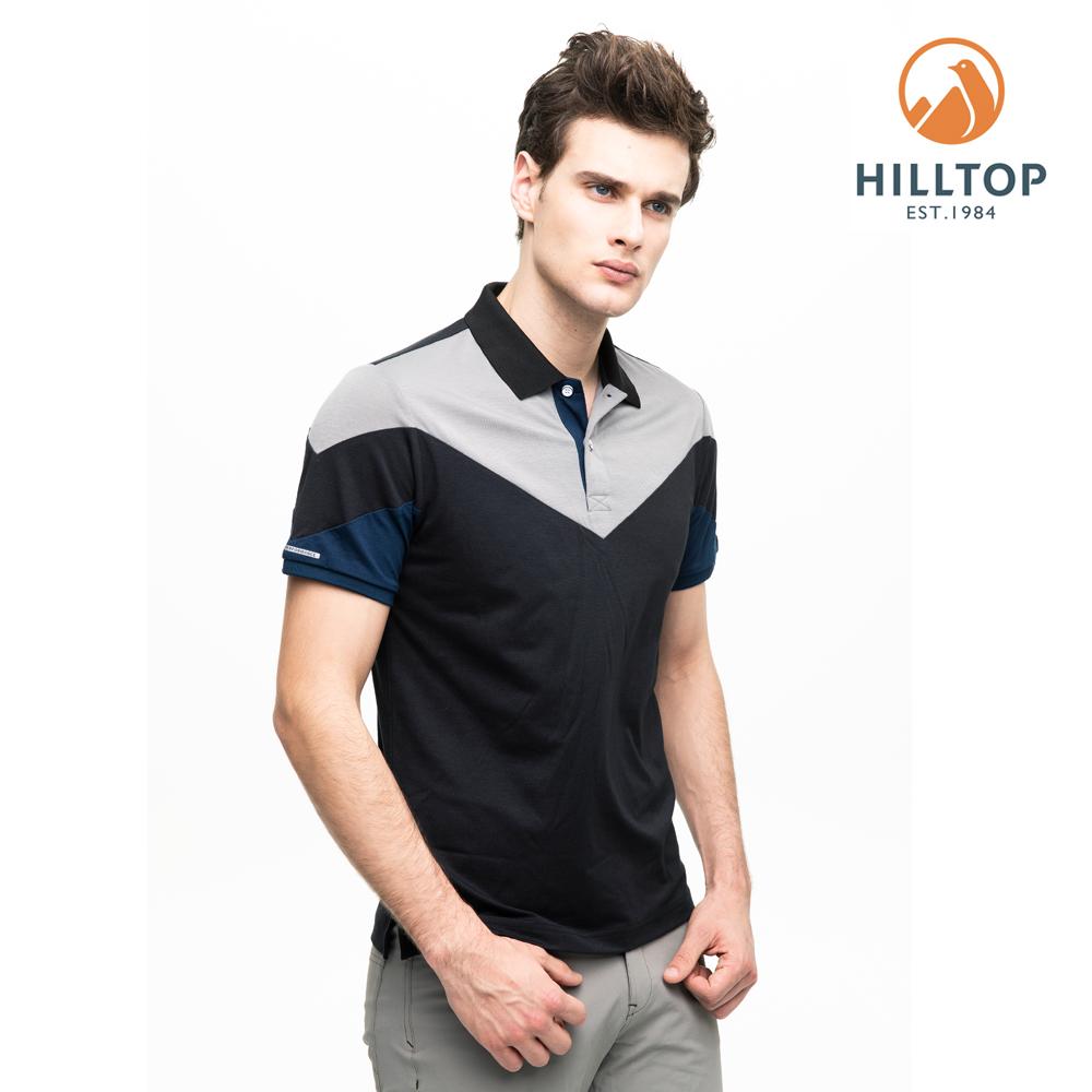 【hilltop山頂鳥】男款吸濕快乾抗菌彈性POLO衫S14MG2黑灰