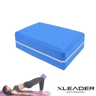 Leader X  環保EVA高密度防滑 雙色夾心瑜珈磚 藍色-急