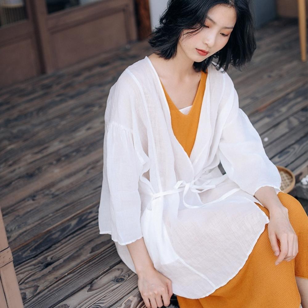 襯衫-100苧麻繫帶交領防曬外套薄版寬鬆-設計所在 product image 1