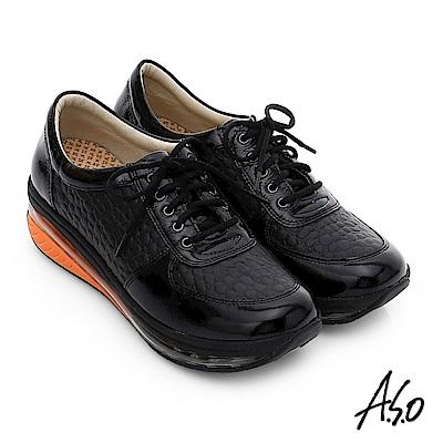 A.S.O 活力微笑 牛皮雙層抗震綁帶奈米休閒鞋 黑色
